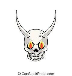 Isolated evil skull with horns
