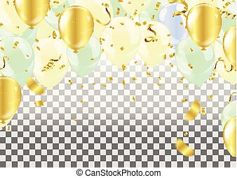 isolated., fête, ballons célébration, banner.