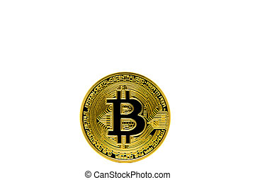 Isolated face of bitcoin on wite background