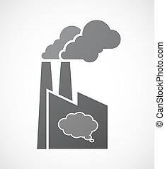 Isolated factory icon with a comic cloud balloon