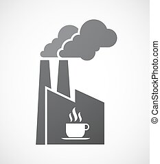 Isolated factory icon with a cup of coffee