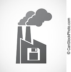 Isolated factory icon with a floppy disk