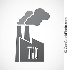 Isolated factory icon with a tool set