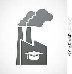 Isolated factory with a graduation cap