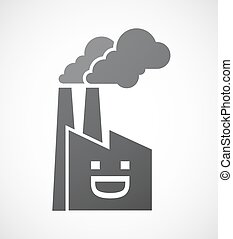 Isolated factory with a laughing text face
