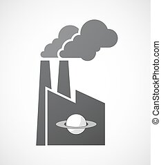 Isolated factory with the planet Saturn