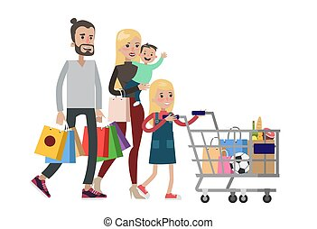 Isolated family shopping.