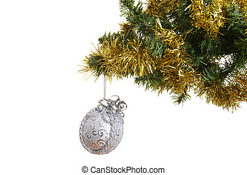 fancy ornament on christmas tree