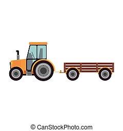 Isolated farm tractor design - Tractor vehicle icon. Machine...