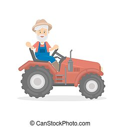 Isolated farmer on tractor.