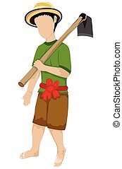 isolated farmer with shovel on white background vector design