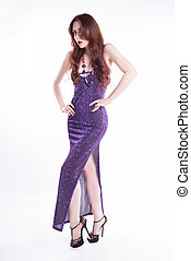 Isolated fashion model with red hair