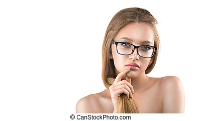Isolated fashion portrait of woman wearing eyeglasses
