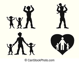 father with kids silhouette vector