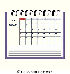 isolated February page 2019 planner calendar