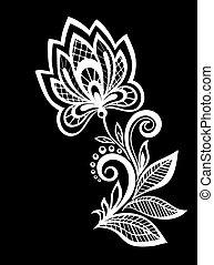 isolated., fekete, zöld, menstruáció, monochrom, gyönyörű, fehér