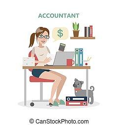 Isolated female accountant.
