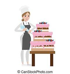 Isolated female chef.