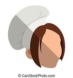 Isolated female chef head design