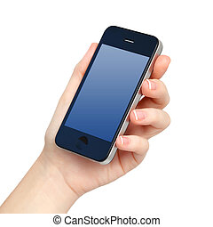 isolated female hand holds the phone with blue screen