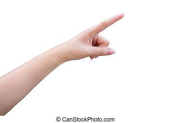 isolated female hand touching