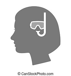 Isolated female head silhouette icon with a diving goggles