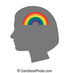 Isolated female head silhouette icon with a rainbow