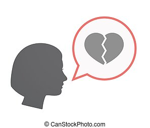 Isolated female head with a broken heart
