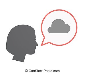 Isolated female head with a cloud