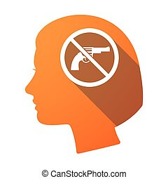 Isolated female head with  a gun  in a not allowed signal