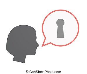 Isolated female head with a key hole