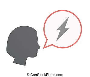 Isolated female head with a lightning