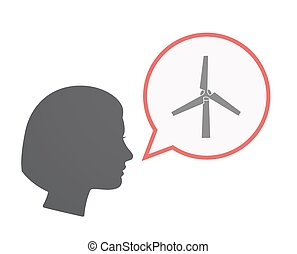 Isolated female head with a wind turbine