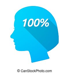 Isolated female head with the text 100%
