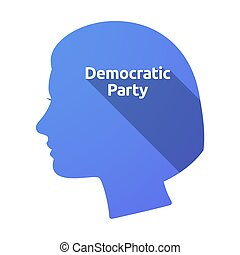 Isolated female head with  the text Democratic  Party