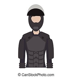 Isolated female police elite force. Vector illustration...