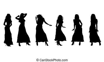 isolated female silhouettes black white