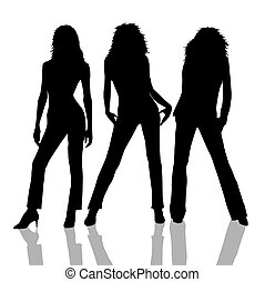 isolated female silhouettes