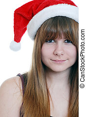 female teenager with santa hat