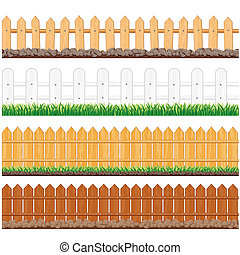Vector Illustration of Various Wooden Fences and other Barriers