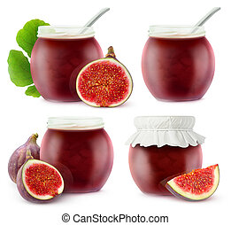Isolated fig jam collection
