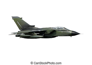 Isolated fighterjet - Isolated green fighterjet