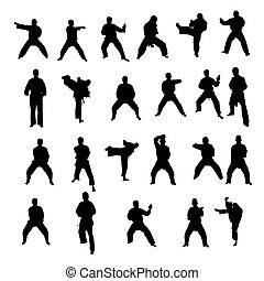 isolated fighting silhouettes