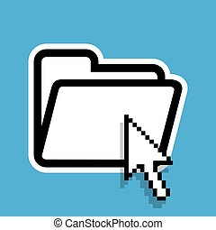 Isolated file folder icon with a cursor