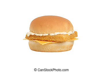isolated fillet fish sandwich with tartar sauce