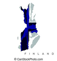 Isolated Finnish map with its flag, Vector illustration