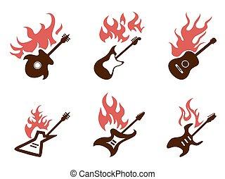 fire guitar icons set
