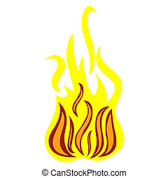 isolated fire on white background
