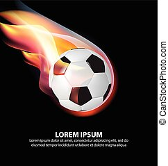 Isolated Fire Soccer Ball or Football on Fire Flame