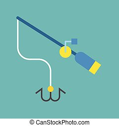 Fishing rod icon, flat design vector illustration